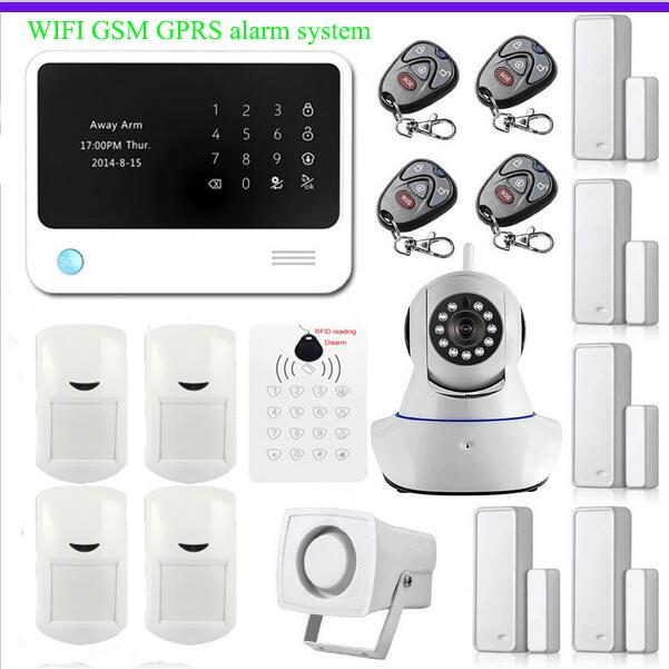 WiFi Internet GSM GPRS SMS OLED House Security Alarm System RFID keypad APP Control + IP Camera wifi App Integrated In Alarm Ap(China (Mainland))