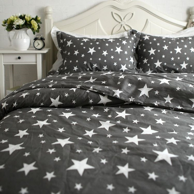 European stars print bedding set brief duvet cover bedding wrinkle bedspread cotton pillowcase bed clothes men's textile(China (Mainland))