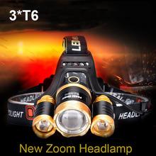 2016 NEW zoom LED headlamp 3 * T6 CREE XML T6 aluminum 6000Lumens highlight long-range outdoor lighting white LED headlight(China (Mainland))
