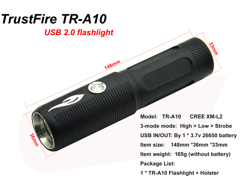 Фонарик CREE xm/l2 1200LM TrustFire tr/a10 USB