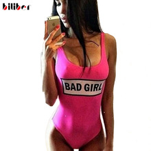 2016 New Bad Girl Swimsuits one piece Red Sexy One Piece Swim suits High Cut One Piece Bathing Suit High Quality Swimwear S-L