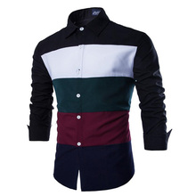 2015 New Design Fashion Men Clothes Striped Shirt Business Casual Dress Of Men's Long Sleeve Straight Shirts  Free Shipping(China (Mainland))