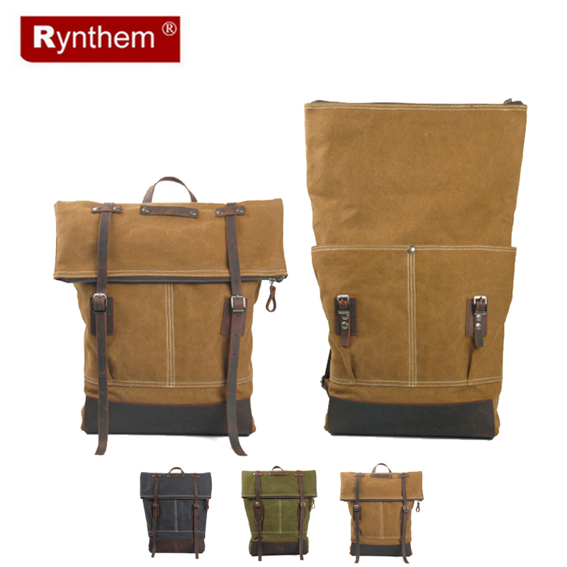 European and American Retro Fashion Canvas And Genuine Leather Backpacks England College Wind Bag<br><br>Aliexpress