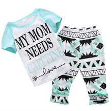 "2pcs Children Set !!Fashion baby clothes Set light green color ""my mon needs"" Letter T-shirt + Flowered long Pants(China (Mainland))"