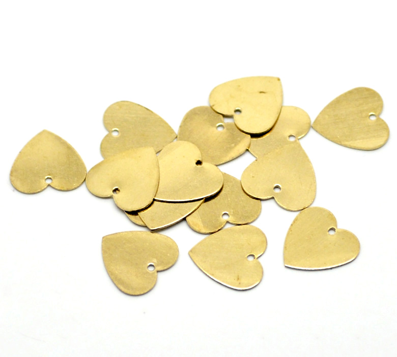 hot- 100PCs Brass Blank Stamping Tags Pendants Love Heart for Necklaces,Earrings,Bracelets etc (B18581)(China (Mainland))