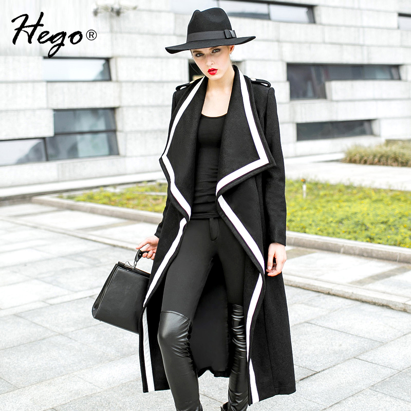 HEGO 2015 New Arrival Autumn&amp;Winter Top Quality X-Long WhitePU Patchwork Turn-down Collar Black Wool Coat H1485Одежда и ак�е��уары<br><br><br>Aliexpress