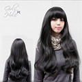 2016 women natural hair long curly wig 70cm fluffy brown black wavy wigs cosplay ombre heat