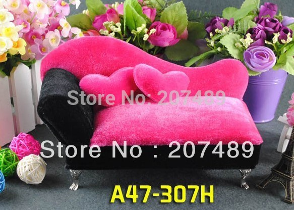 mini furniture sofa heart pillow velvet jewellery box case organizer storage display for earring ring necklace for gift wedding