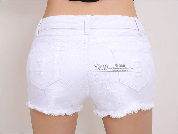 White Denim Shorts Womens - The Else