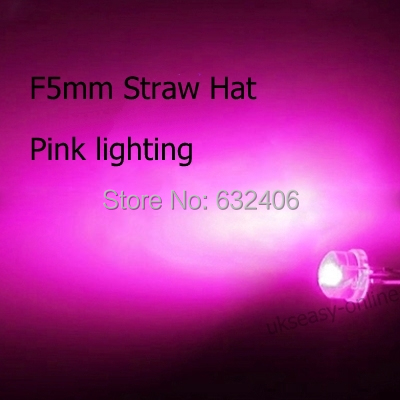 New 1000pcs Straw Hat 5mm LED Pink water clear led diode diodes round LED Light Emitting Diode(China (Mainland))