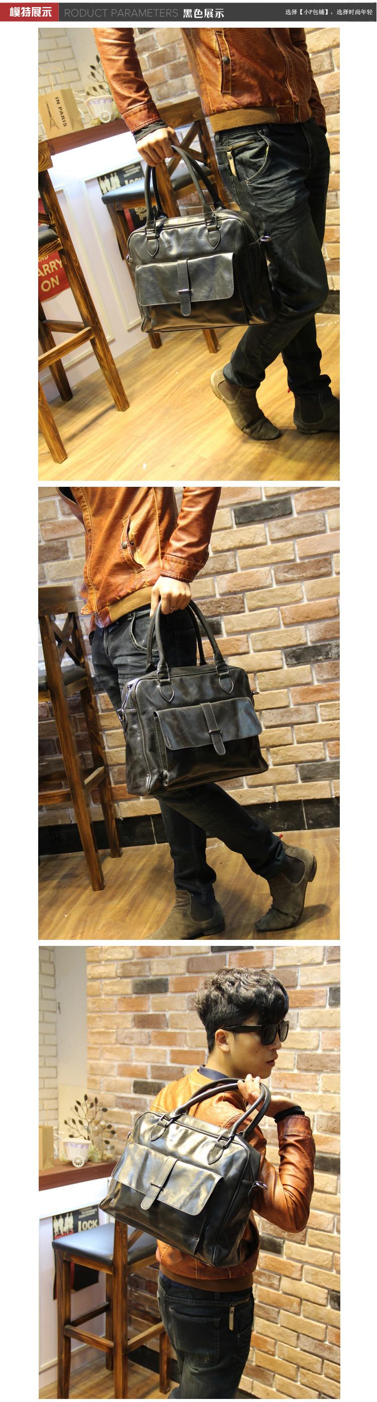 2015 Men Casual Briefcase Business Shoulder Genuine PU Leather