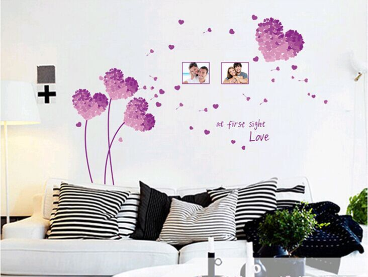 Factory outlets] AY7176D purple love grass photo frame wall stickers removable PVC transparent film(China (Mainland))