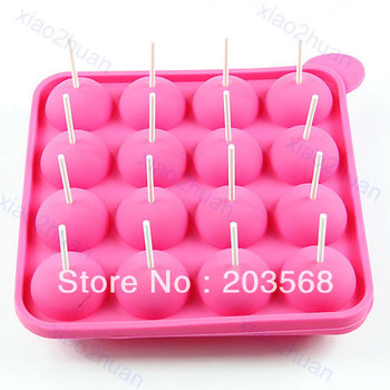 D19+Best Selling, 16Slots Mould +20pcs Sticks Silicone Cake Chocolate Cookie Lollipop Pop Mold Mould Baking Tray Stick Party