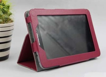Leather Case Cover Pouch For 7 inch Lenovo IdeaTab Tablet A2107 W/ Stand Rose Red free shipping