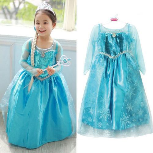 Girls Princess Anna Elsa Cosplay Costume Kid's Party Dress Dresses SZ7-8Y(China (Mainland))