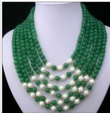 Wedding Woman Jewelry 6 Rows 6mm Green Jade Bead Natural Freshwater Pearl Necklace Handmade Free Shipping(China (Mainland))