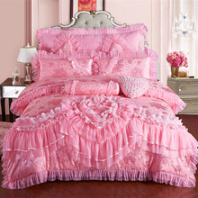 luxury Silk Cotton Wedding Bedding Sets Lace Jacquard red and pink Quilt Cover Set 8/6/4pcs Queen King size Bedlinen(China (Mainland))
