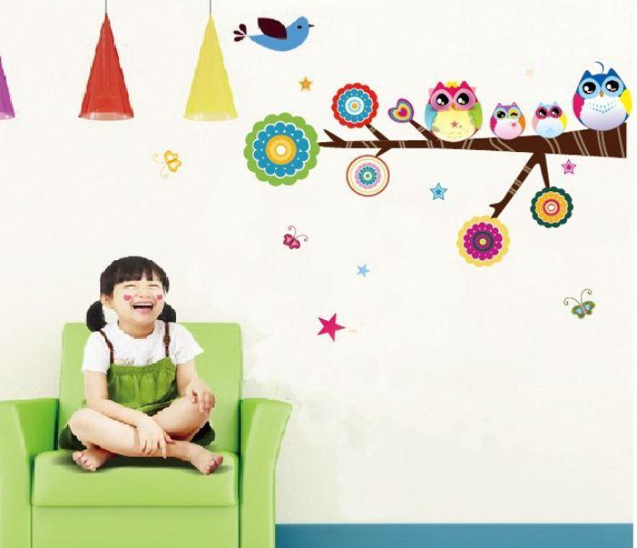 2014 new design style children kindergarten bedroom cartoon OWL FAMILY designer popular lovely walls decals stickers(China (Mainland))