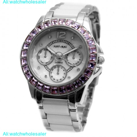 FW830S Water Resist White Dial Ladies Women CeramicViolet Crystal Bracelet Watch