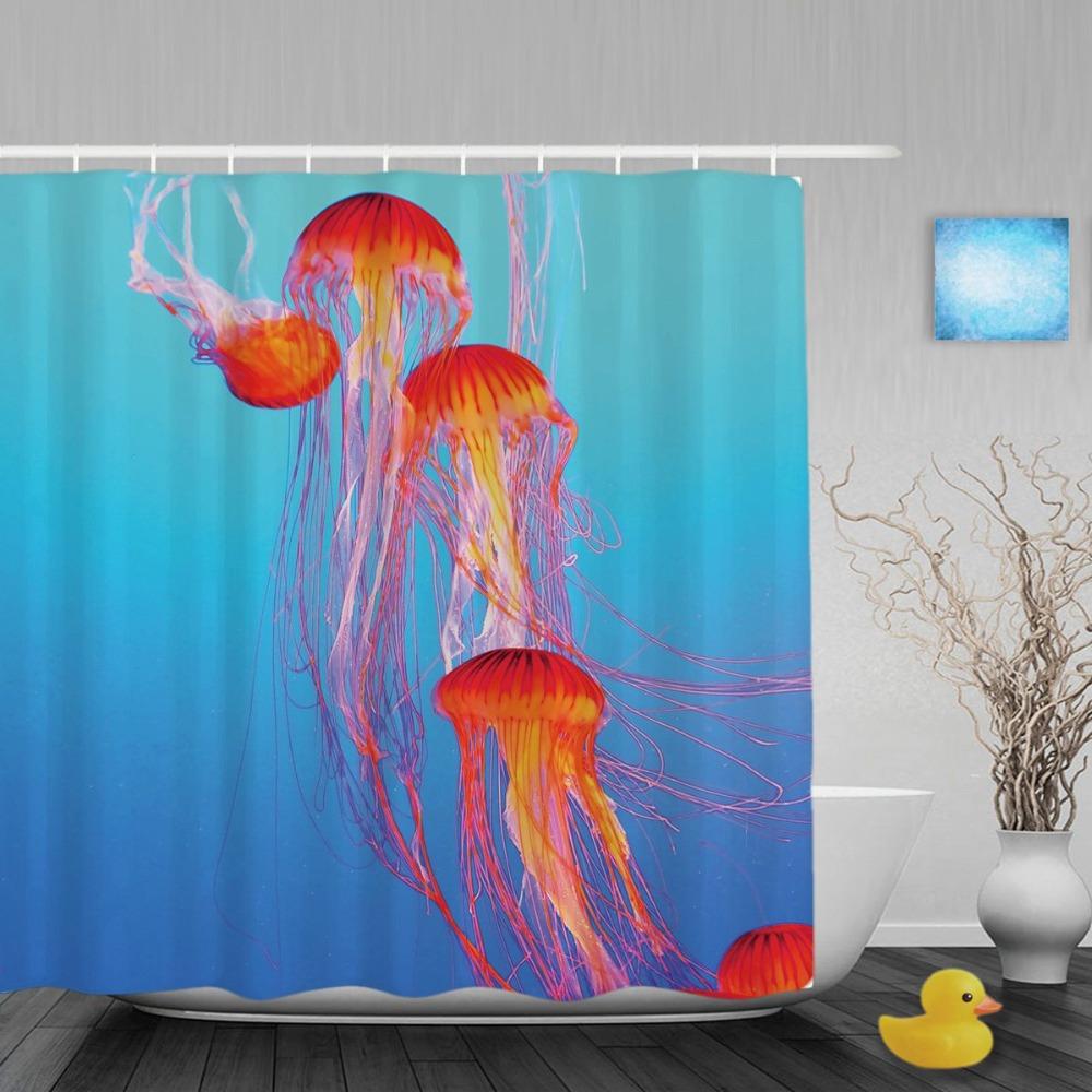 Blue bathroom curtains - Orange Jellyfish Tentacles Bathroom Curtain Aquarium Bright Blue Water Shower Curtains Waterproof Polyester Fabric With Hooks