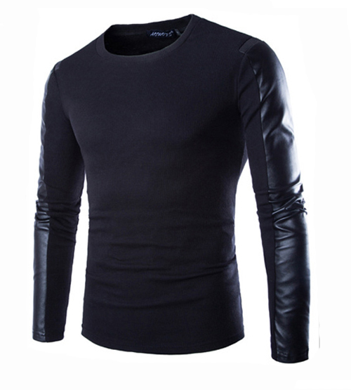 Men T Shirt Long Sleeve 2015 New Arrival PU Leather Patchwork Sleeve Pullover O-neck Men's Long Sleeve Tshirt Sweter Hombre(China (Mainland))