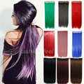26 68CM Straight One Piece Clip in on Hair Extensions Black Brown Blonde Pink Purple Green