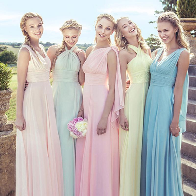 Multi-Wear Convertible Bridesmaid Dresses Pink And Purple Dress Vestidos de Festa Custom Made Bride Maid of Honor Dress to Party(China (Mainland))