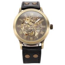 Shenhua Case Vintage Bronze Mens automático esquelético mecánico analógico reloj negro correa de cuero auto liquidación Steampunk reloj