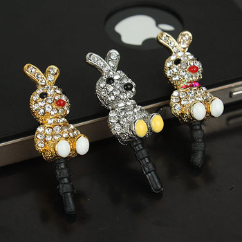 P010 Shiny drilny Headset ear cap Anti-dust Plug dust Stopper cover imitate diamonds with crystal  jewelry