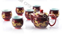 Yellow Chinese Dragon Red Bone China 7 Piece Tea Set Tea Service
