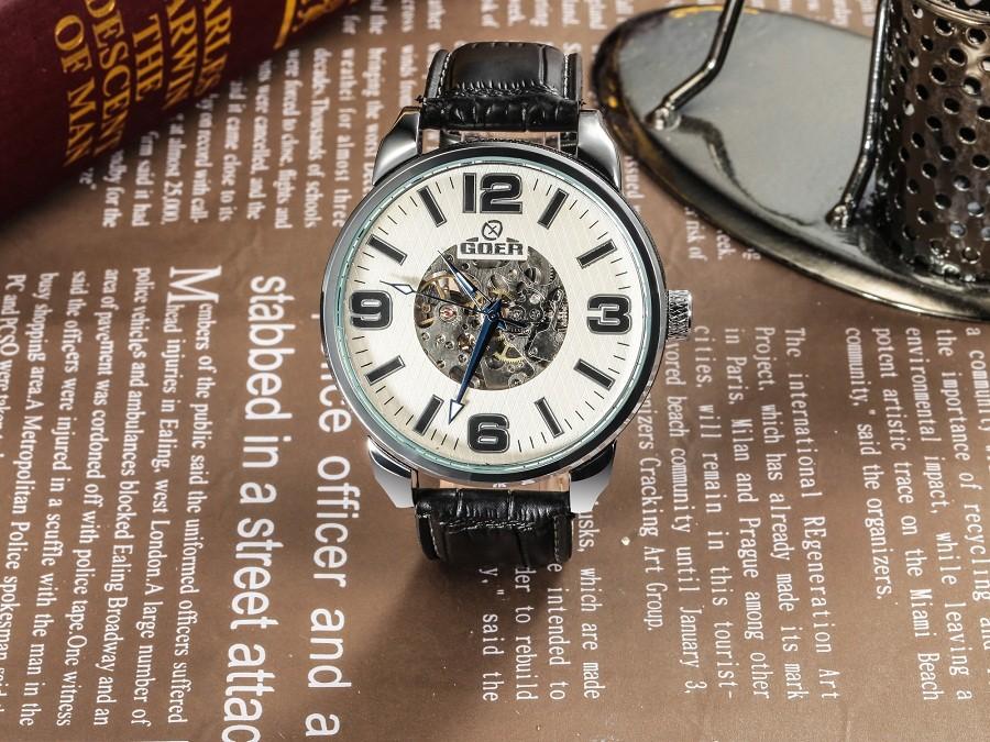 ГРУ марка кожа техника мужские Автоматические Часы водонепроницаемый Световой цифровой Скелет мужчины Наручные часы