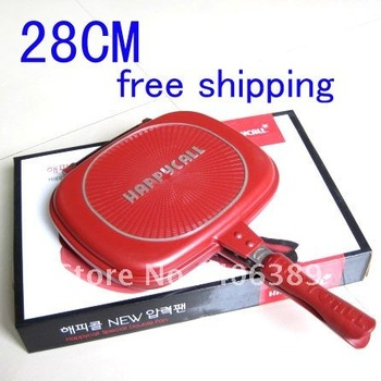Wholesale 10pcs/lot   Free Shipping,Happycall Pan 28cm  Double Side Non-stick Grill Fry Pan, 2012 Hot !