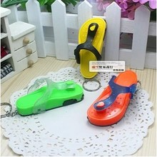 Led lighting novelty small slippers light button keychain night lights small gift(China (Mainland))