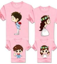Korean Children Clothing Cartoon Bride Bridegroom Funny T shirts Family Matching Outfits Mother Daughter Father Son Tee Clothes