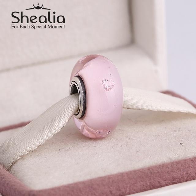 2015 новые подлинные серебро 925 розовый муранского стекла бусины с сердцем циркон для женщин подходит известный бренд diy браслеты Ht308