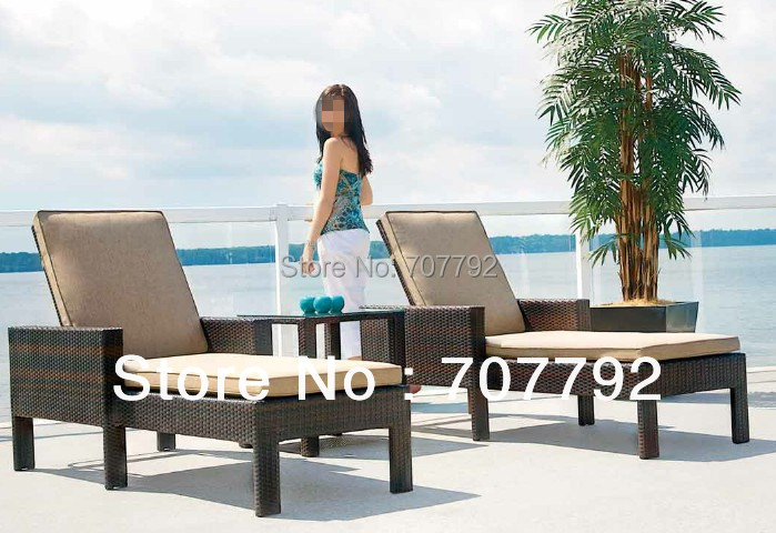 New Arrival!! 2016 Outdoor Hotel Beach PE Rattan Double Chaise Lounge(China (Mainland))