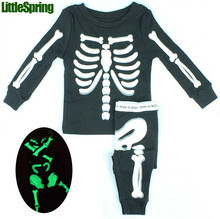 Novelty Hallowmas Halloween costume skeleton printed children's clothes set youth toddler baby children's clothing outfits(China (Mainland))