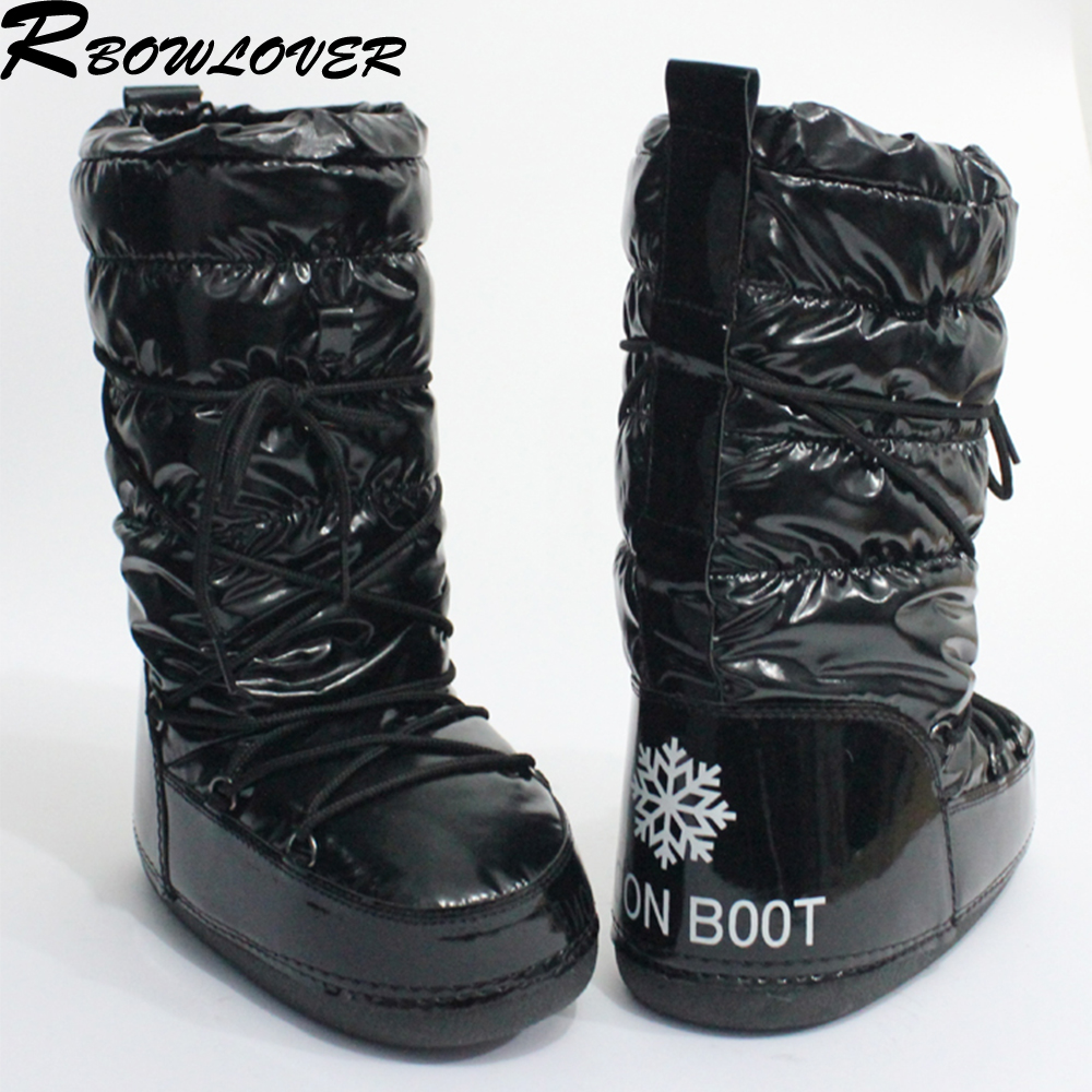 RBOWLOVER 2016 Winter Women Moon Boots Newest Hot Selling Fashion Snow Boots No-Slip Lace-Up Water Proof Ski Boots Big Size(China (Mainland))