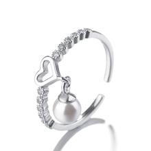 Süße Nachahmung Birne Herzförmige Halskette + Ohrringe + Ring Für Frauen 925 Sterling Silber Schmuck Sets(China)