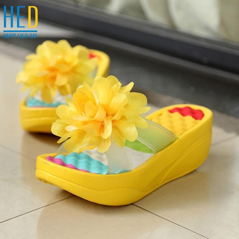 2015 new summer Women's Flip-Flop Sandals Platform flip flops slippers sandals swing wedges sandal women hole shoes plus size(China (Mainland))
