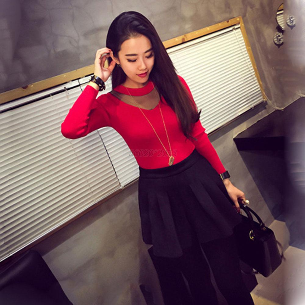 Fashion Trendy Lady Mesh Sheer Shirts Blouse Long Sleeve Slim Knitwear Splicing Tops Hot Hot Free