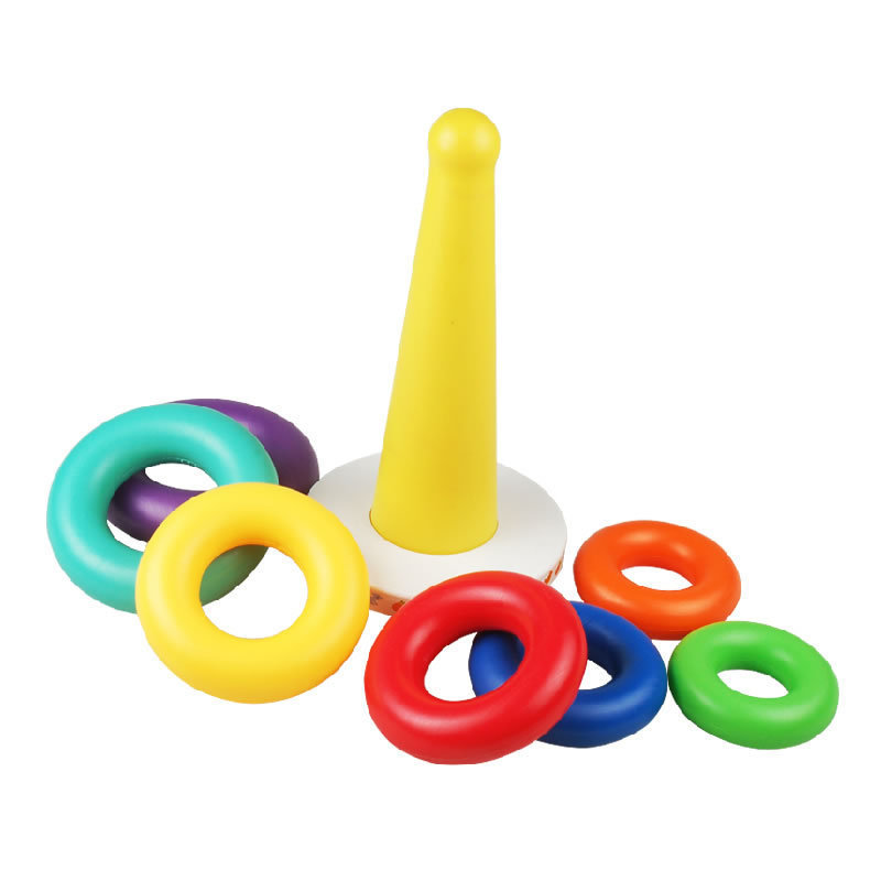 Hot Selling Unisex Kids Educational Toy Baby Learning Rainbow Tower Ring Roly-poly Toy 7Colors Rings Different Sounds