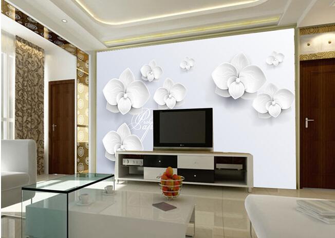 Custom 3D mural,3D three-dimensional fashion white flower,hotel coffee shop living room TV wall bedroom vinyl wallpaper(China (Mainland))