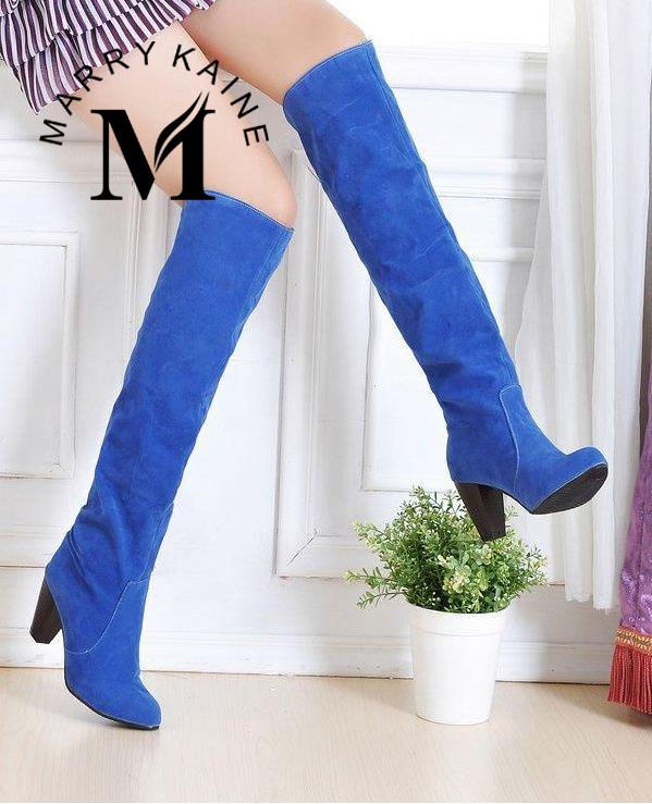 Big size 34 43 Women Knee High Boots Sexy Chunky High Heels Round Toe Spring Autumn