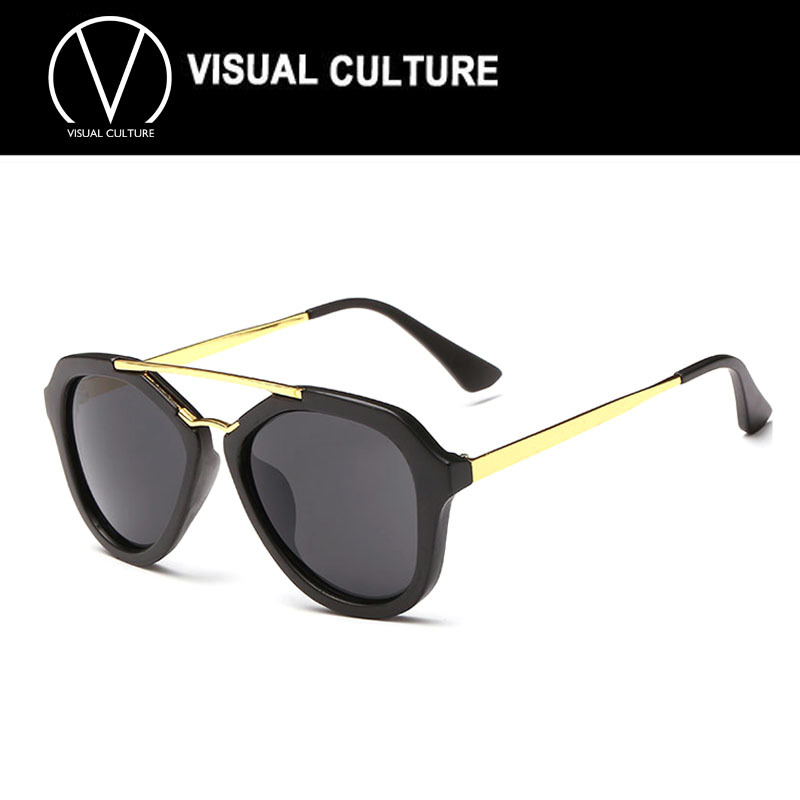 2015 NEW Double bridge Sunglasses celebrity same glasses women Black Gold sun spectacles shades Metal UV400 CE Good Quality K203(China (Mainland))