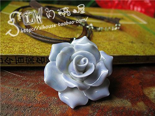 Jingdezhen ceramic accessories purple romantic rose ceramic necklace pendant handmade jewelry