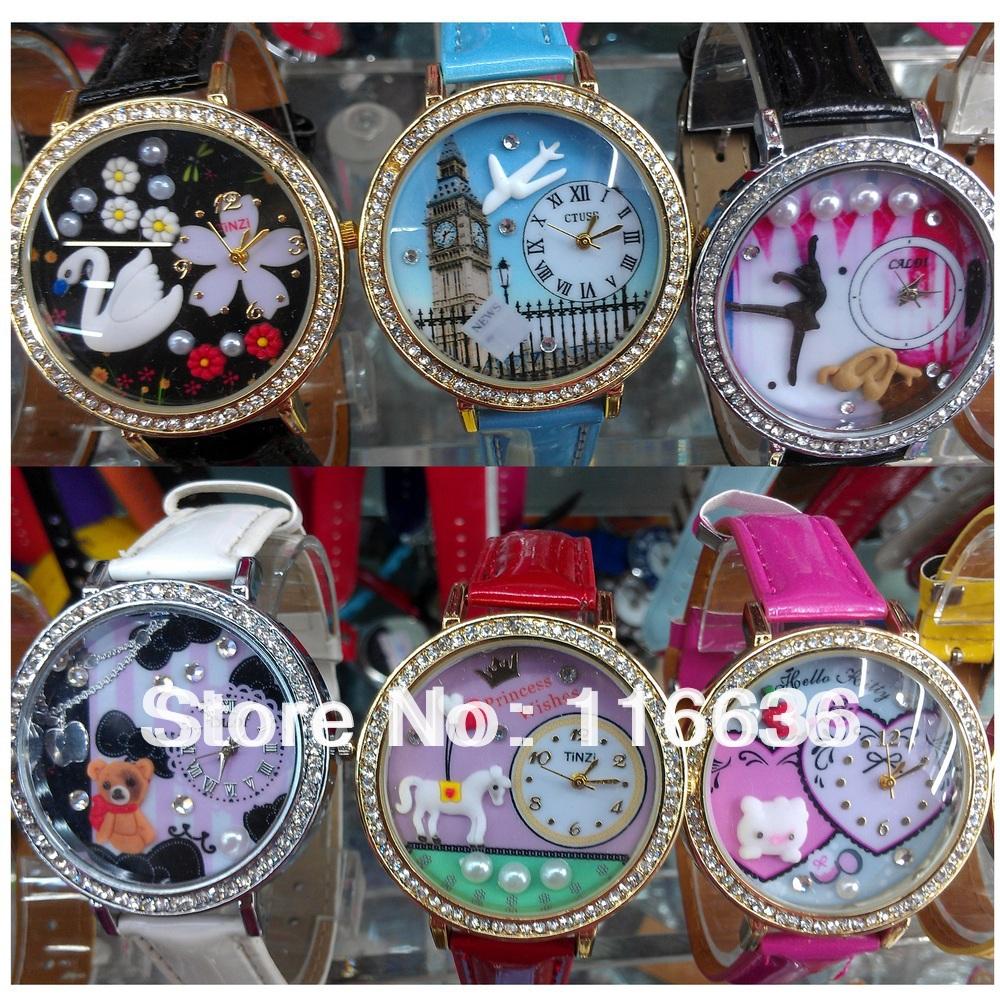 50 pcs Mini 3d korean Flower Pony Kitty bear pearl eiffel cat Watch DIY clay Ladies women lady woman princess wholesale Toy LOT<br><br>Aliexpress