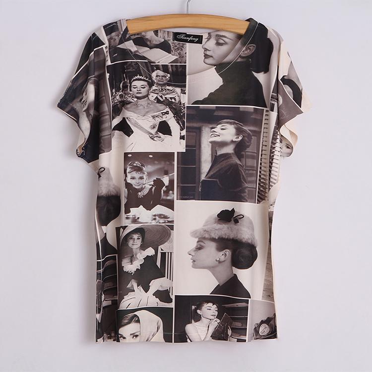 Milk Silk 2015 new brand t shirt women audrey hepburn printed summer style kawaii t-shirt celebrities casual wear(China (Mainland))