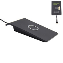 Slope Desktop Wireless Cellphone Charging Pad Qi charger + Qi Wireless Charger Receiver Sticker For Universal Android Phones Set
