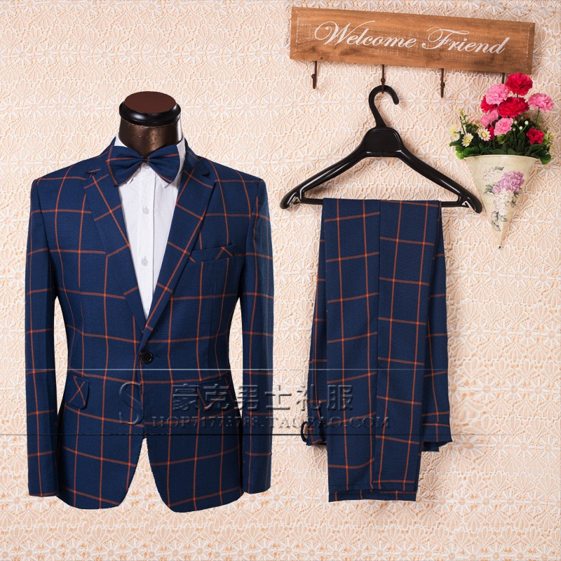 2016 Mens plus size Plaid suits the groom suit male wedding formal dress Stage show performance wear(China (Mainland))